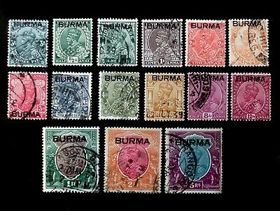 Burma 1937 King George V Kgv Stamps Of India Set To 5 Rupees 5Rs Used Cat £75+++