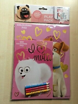 BNIP New The Secret Life of Pets Play Pack - Colouring Pad Mini Pad 4 Pencils