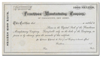 Frenchtown Manufacturing Company Stock Certificate (Frenchtown, NJ, 1870's)