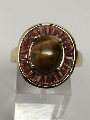 14K Yellow Gold Cabochon Tiger's Eye and Baguette Garnet Ring Size 9