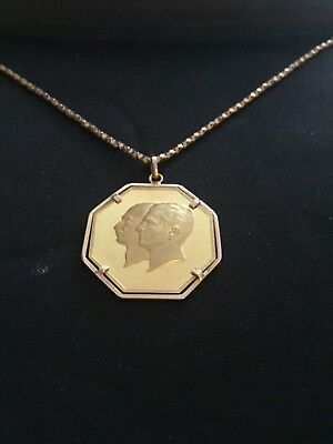 """2.5 Pahlavi Gold Pendant with 19"""" Gold Swiss Made Chain"""