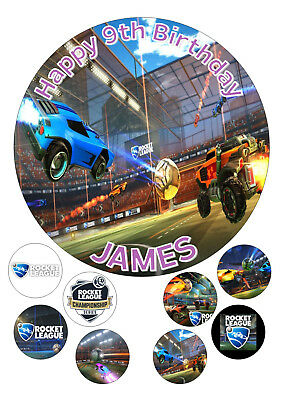 """Rocket League 1 Round Iced / Icing Personalised Cake Topper 7.5"""" + Cupcake Tops"""