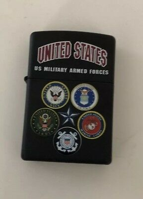 Zippo US Military Armed forces Lighter Black Matte  28898 Free Shipping.