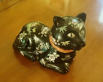 Chinese Qing Dynasty Porcelain Cat Black Floral Purple Red - Jiaqing Seal China