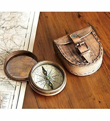 Antique Vintage Brass Compass Engraved Pocket Marine Collectible Camping + Case