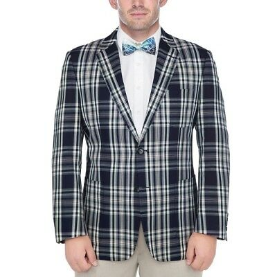 Verno Men's Navy Blue and White Madras Plaid 100-percent Cotton Classic Sports