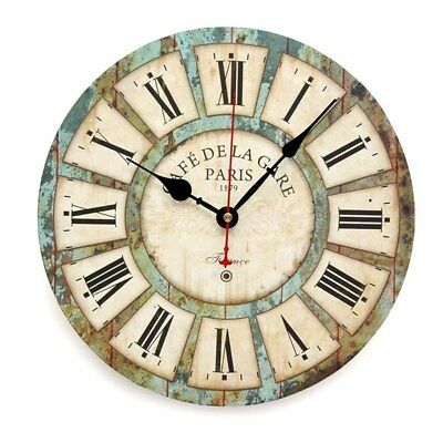 Vintage Creative Round Wood Wall Clock Quartz Bracket Clock