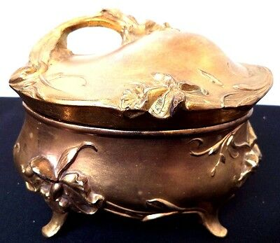 """Antique Signed Wb Mfg. Co. 375 Art Nouveau Flower Gilded 7"""" Jewelry Box!!! B113"""