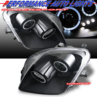Set of Pair Black Projector Headlights w/ Halo Rims for 1997-2001 Honda Prelude