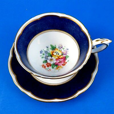 Crown Staffordshire Cobalt Blue Border with Floral Center Tea Cup and Saucer Set