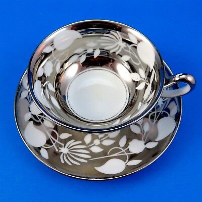 Heavy Silver Royal Chelsea Tea Cup & Saucer Set (minor silver loss and crazing)