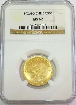 1926 So Gold Chile 50 Peso Coin Ngc Mint State 62