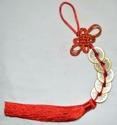China Traditinal Fengshui Pendant Fortune Coin Tassel Red Hanging Wealth Luck 2