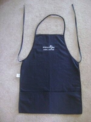 Black Signature Chef Auction Apron - two pocket bib - embroidered text - washed