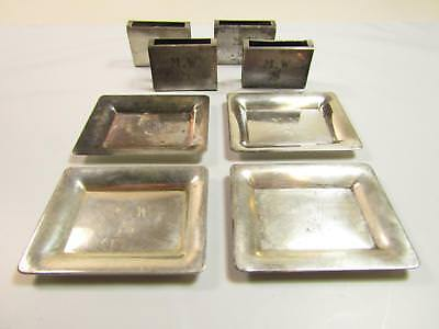 Vintage Sterling Silver Monogrammed MWS Match Box & Ashtray Set of 4