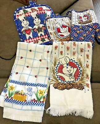 Lot of 5 1996,1999 & 2005 Pillsbury Doughboy 2-Dish Towels 1-Oven mit 2-hot pads
