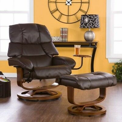 Fabulous Brown Leather Recliner Ottoman 360 Swivel Recliners Chair Ibusinesslaw Wood Chair Design Ideas Ibusinesslaworg