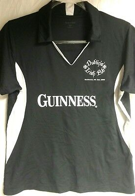 Womens Guinness Shirt Black Sz L Polo Golf Shirt Irish Pub