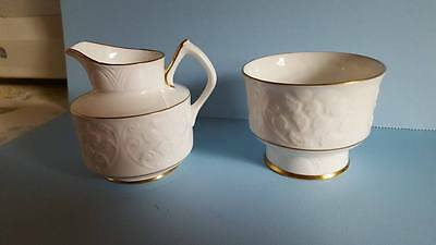 "Crown Staffordshire FineBone China;""Glendale"" Open Sugar Bowl & Creamer; England"