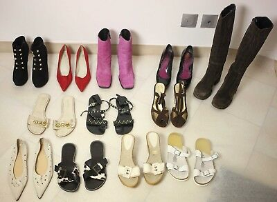14 PAIRS OF LADIES SHOES-ONE BOOTS-SIZES 38 to 40-MEGA BARGAIN BUNDLE-USED