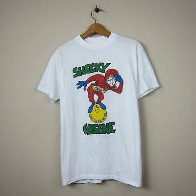 80s Hanes 50/50 L USA White Shecky Greene 'Kaka on the Moon' Front Graphic Tee