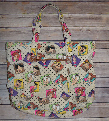 Vtg Flintstones Tote Purse Bag 1994 Fred Wilma Bam Bam Beach Pebbles RARE 90's