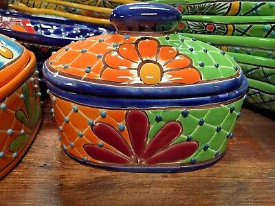 TALAVERA MEXICAN POTTERY - OVAL CONTAINER with LID (Assorted Colors)