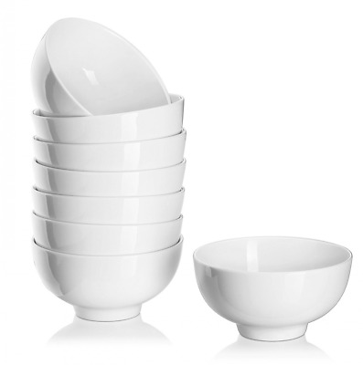 Dowan Ceramics Soup/cereal Bowl, 4.5-inch Winter Frost White (Set of 8)