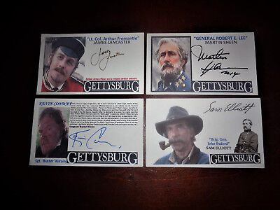 Movie Gettysburg 1993 Set of 4 Signed Actor Cards