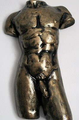 Abstract Hand Painted Antique Gold  Nude Male Torso Wall Sculpture Gay Relief