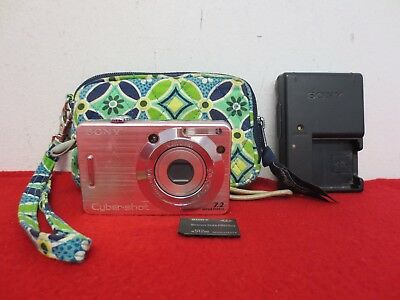 Sony Cyber-shot DSC-W55 7.2MP Pink Digital Camera BUNDLE