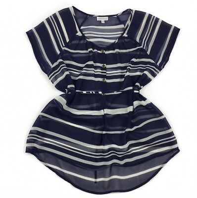 A Pea In The Pod Blouse Maternity Size MEDIUM Sheer Blue White Striped Top M