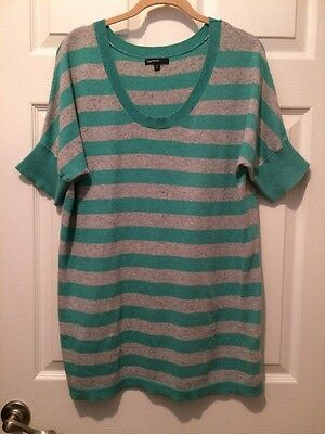 Gap Maternity Scoop Neck Dolman Sweater Top Minty Teal & Gray Striped Sz XL *GUC