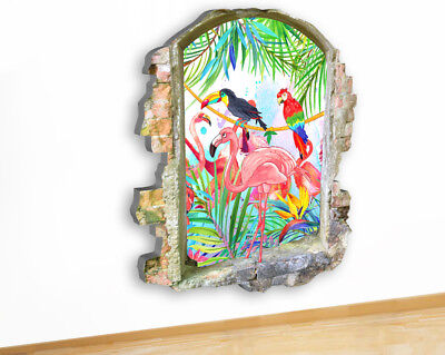 Wall Stickers Flamingo Birds Tropical Hall Canvas Picture Poster Art Room G831
