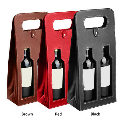 Wine Bottle Bag Leather Luxury Bag Double Champagne Tote Carrier Bag Cover Gift