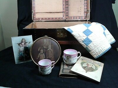 Victorian Doll Trunk with Contents
