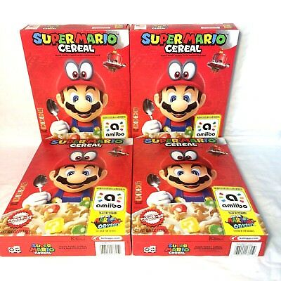 4 New Sealed Boxes of Limited Edition SUPER MARIO ODYSSEY CEREAL With Amiibo