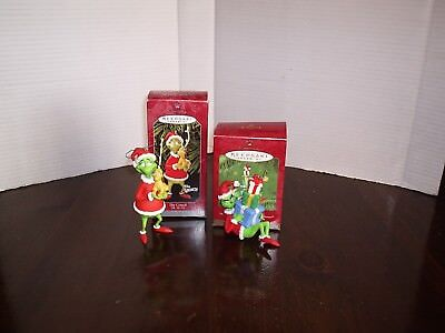 Hallmark The Grinch Lot Of 2 Ornaments Grinch & Max Gifts For The Grinch 1998