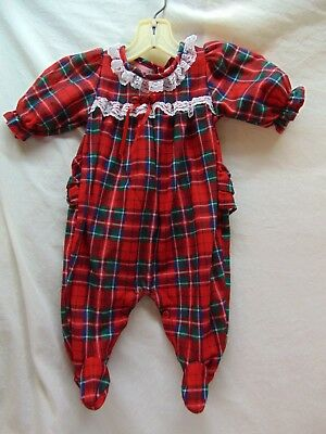 "**Vintage** Baby Girl Size 3 Months Red Plaid ""Flannel"" Sleeper by Alexis"