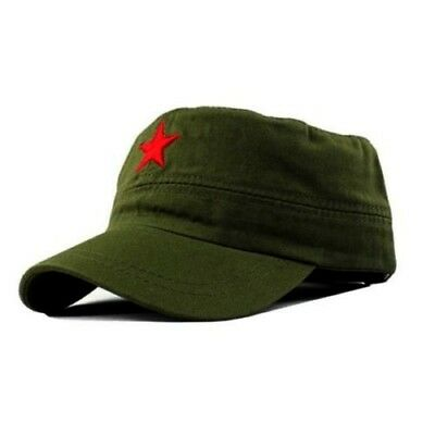 db6fac27d76 FATIGUE MILITARY PATROL Cap Red Star Castro Style Hat US SELLER ...