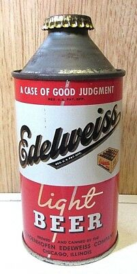 Clean 1940's Straight Steel Edelweiss Light Beer 12 FL OZ Cone Top Beer Can