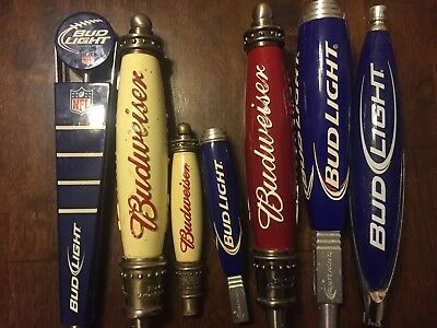 Lot of 7 Beer Tap Handles - Bud Light, Budweiser Lot #149