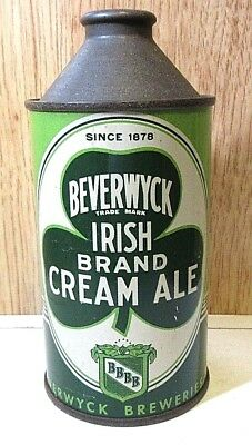 Nice 1940's IRTP S/S Beverwych Irish Cream Ale 12 FL OZ Cone Top Beer Can