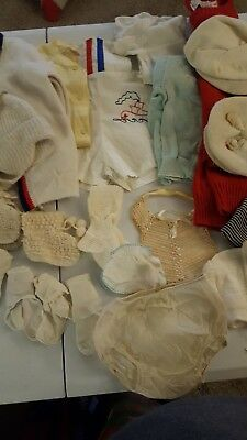 Vintage Misc. Lot of Baby Clothes, Hats, Booties 1950's