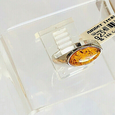 14k White Gold Filled Genuine Russian Baltic Amber Ring 7,0 Butterscotch Polish