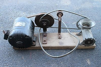 Vintage Motorized Meat Grinder Wooden Pulley Craftsman 1/2 HP Motor Rare Antique