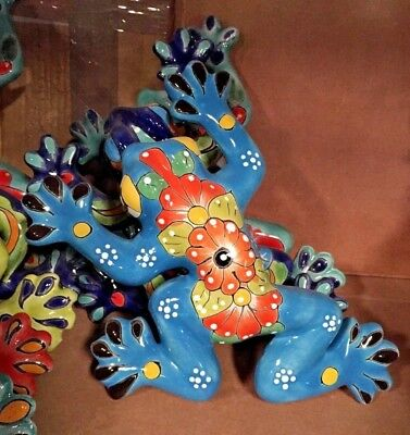 TALAVERA MEXICAN POTTERY - ANIMALS - SMALL FROGS - (Assorted Colors)