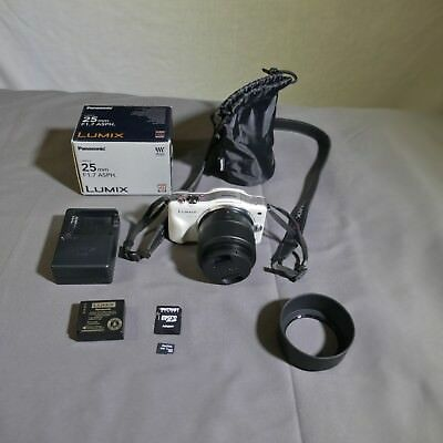 Panasonic LUMIX DMC-GF3 12.1MP Digital Camera - White Includes LN 25mm F1.7