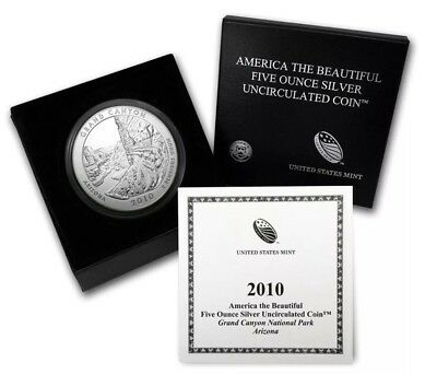 2010-P ATB 5 oz America the Beautiful Five Ounce Grand Canyon Silver Coin w/All