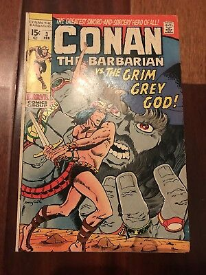 CONAN THE BARBARIAN # 3 - VG BARRY SMITH - Low Distribution THE GRIM GREY GOD